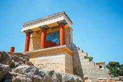 Ruins of the Minoan Palace of Knossos on Crete. Scenic ruins of the Minoan Palace of Knossos on Crete, Greece Royalty Free Stock Photography