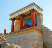 Scenic ruins of Minoan Palace of Knossos.North entrance with bull fresco. Heraklion.Crete island. Greece.Europe. Scenic ruins of the Minoan Palace of Knossos Stock Photos