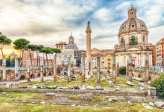 Scenic ruins of the Trajan's Forum and Column in Rome Royalty Free Stock Photo