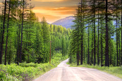 Scenic rural drive in Montana Stock Photos
