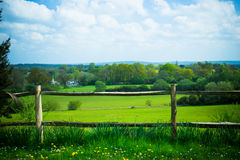 Scenic rural landscape featuring lush farmland and fence in Surr Stock Image