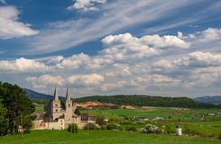 Scenic rural landscape with St. Martin's Cathedral in Spisska Kapitula, Slovakia royalty free stock image