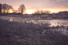 Scenic rural landscape during sunset in field nearby river. With reflecting sun on water surface Royalty Free Stock Photos