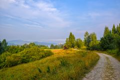 Scenic rural road to Czorsztyn Castle in Southern Poland Stock Images