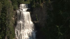 Scenic rushing waterfall stock video footage