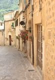Street with rustic homes in Valldemossa, Mallorca, Spain Stock Photo
