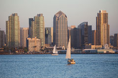 Scenic San Diego skyline. Sailboat and waterfront, Pacific Ocean at sunset, California Royalty Free Stock Image