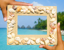 Scenic Sand Picture Frame For Copy Space Stock Photo
