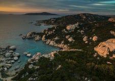 Scenic Sardinia island landscape. Italy sea coast with azure clear water. royalty free stock photos