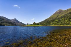 Scenic scottish landscape near Fort Williams with idyllic lake surrounded by little mountains, Scotland royalty free stock images