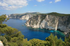 Scenic sea cliffs. On the island of Zakynthos in Greece Royalty Free Stock Image