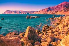 Scenic sea landscape. Sunset seascape. Scenic sea landscape. Sunset beautiful seascape royalty free stock photo