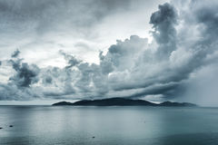 Scenic seascape with dramatic stormy sky. Nha Trang Bay, Vietnam Stock Photography