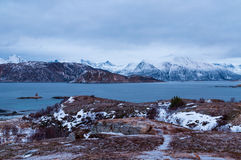 Scenic seascape in Sommaroy, Norway. Scenic seascape in Sommaroy in winter during Polar Night, Norway Royalty Free Stock Photos