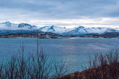 Scenic seascape in Sommaroy, Norway. Scenic seascape in Sommaroy in winter during Polar Night, Norway Stock Photography
