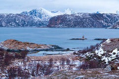 Scenic seascape in Sommaroy, Norway. Scenic seascape in Sommaroy in winter during Polar Night, Norway Royalty Free Stock Photo