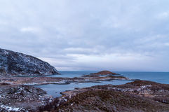 Scenic seascape in Sommaroy, Norway. Scenic seascape in Sommaroy in winter during Polar Night, Norway Stock Images