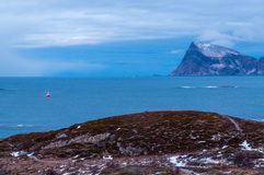 Scenic seascape in Sommaroy, Norway. Scenic seascape in Sommaroy in winter during Polar Night, Norway Stock Image