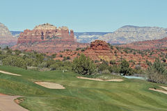 Scenic Sedona Golf Course. A scenic sedona arizona golf course with red rock backdrop Royalty Free Stock Photography