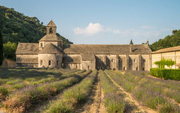 Scenic Senanque abbey and blooming lavender field in Provence region of France Stock Photos