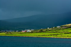 Scenic Settlement at Coast of Ireland Stock Photo