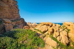 Scenic shore in Sardegna. Costa Paradiso in spring, Sardinia royalty free stock photography