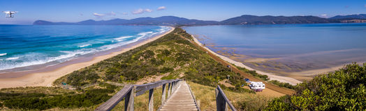 Scenic shot from the Neck lookout on Bruny Island with drone. The Neck lookout on Bruny Island provides panoramic views over scenic North and South Bruny Island Stock Images