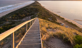 Scenic shot from the 'Neck' lookout on Bruny Island. The 'Neck' lookout on Bruny Island provides panoramic views over scenic North and South Bruny Island Beaches Royalty Free Stock Image