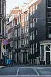 Scenic shot of street of old buildings. At Amsterdam, Netherlands stock photography