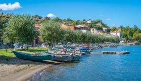 Scenic sight in Marta, on the Bolsena Lake, province of Viterbo, Lazio. Marta is a comune municipality in the Province of Viterbo in the Italian region Latium Stock Photo