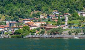 Scenic sight in Ossuccio, small and beautiful village overlooking Lake Como, Lombardy Italy. Ossuccio is a comune in the Province of Como in the Italian region royalty free stock photography