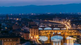 Scenic Skyline View of Arno River day to night timelapse, Ponte Vecchio from Piazzale Michelangelo at Sunset, Florence. Scenic Skyline View of Arno River day to stock footage