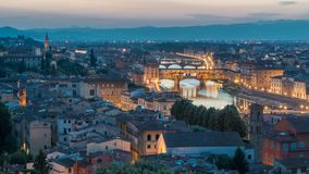 Scenic Skyline View of Arno River day to night timelapse, Ponte Vecchio from Piazzale Michelangelo at Sunset, Florence. Scenic Skyline View of Arno River day to stock video