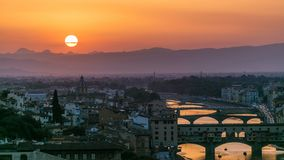 Scenic Skyline View of Arno River timelapse, Ponte Vecchio from Piazzale Michelangelo at Sunset, Florence, Italy. Colorful sky. Evening mist stock video