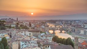 Scenic Skyline View of Arno River timelapse, Ponte Vecchio from Piazzale Michelangelo at Sunset, Florence, Italy. Colorful sky. Evening mist stock video footage