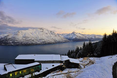 Scenic snow mountains and lake in New Zealand Stock Photo