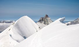 Scenic snowcapped Breithorn mountain. In Penine Alps above Zermatt Stock Photography