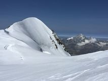 Scenic snowcapped Breithorn mountain. In Penine Alps above Zermatt Royalty Free Stock Image