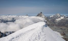 Scenic snowcapped Breithorn mountain. In Penine Alps above Zermatt Royalty Free Stock Photos