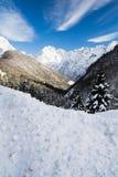 Scenic snowy alpine landscape view in julian alps, Slovenia. Scenic snowy alpine landscape view in julian alps Royalty Free Stock Photos
