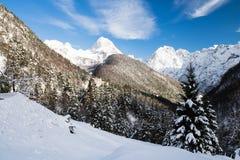 Scenic snowy alpine landscape view in julian alps, Slovenia. Scenic snowy alpine landscape view in julian alps Stock Images
