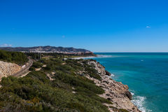 Scenic Spanish Coastline, Sitges, Spain. Royalty Free Stock Photo