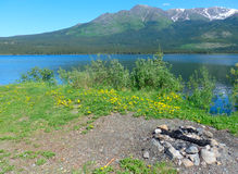 A scenic spot by a lake in the rocky mountains Royalty Free Stock Photography