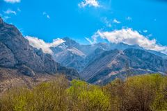 Scenic of spring day with mountain landscape shot of Caucasus, t Royalty Free Stock Image
