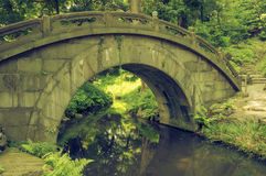 Humpbacked bridge. Scenic stone bridge over quiet waters stock photography