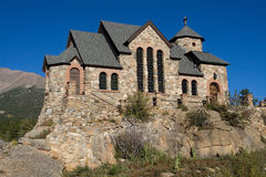 Scenic Stone Church. Scenic church in the mountains of Colorado. Low angle view Royalty Free Stock Photo