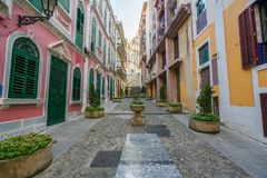 Free Scenic Street In The Old Town In Macau Macao Near Ruins Of St Royalty Free Stock Photo - 103690975