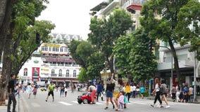 Scenic street view in Hanoi Old Quarter, people can seen exploring around it. Hanoi,Vietnam - December 15,2017 : Scenic street view in Hanoi Old Quarter, people stock video