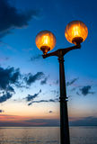 Scenic Streetlamp and Cloudy Night Sky Royalty Free Stock Photos