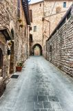 Scenic streets of the medieval town of Assisi, Umbria, Italy Stock Image